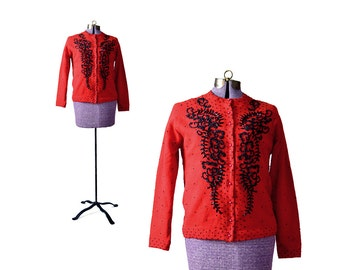 1950s Sweater Red Cardigan Beaded Cardigan  50s Sweater Beaded Sweater Red Sweater Red Vintage Sweater Womens Cardigan Vintage Clothing