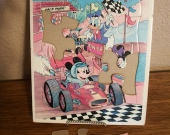 Mickey Mouse Race Car Driver Puzzle Children's Toy Minnie Donald Duck Disney Friends Frame Tray Vintage Disneyana