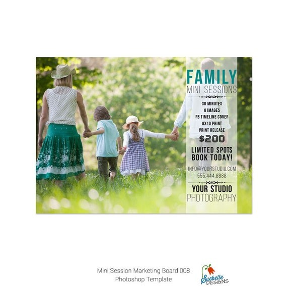 Mini Sessions Template - 5x7 Marketing Board 008 for Photoshop and Photoshop Elements
