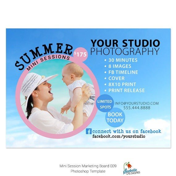 Summer Mini Sessions Photoshop Template - 5x7 Marketing Board 009