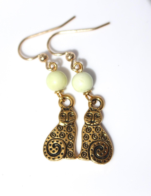 gold cat earrings