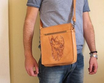 Men's Leather Bag, Tan leather bag, handmade bag with pyrography print