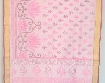 Floral Printed Pink Saree Vintage Indian Textile Fabric Crafting Drapery Sari  TP2384