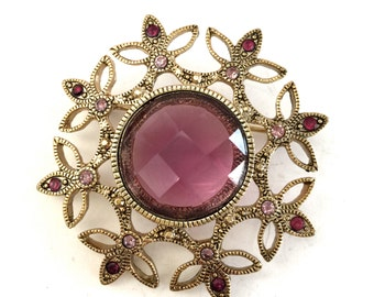 Purple and Lilac Rhinestone Brooch