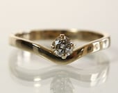 Round Diamond Engagement Ring 14K Yellow Gold Size 6.75 Wedding Jewelry Stacking Ring With .18 Carat Brilliant Cut