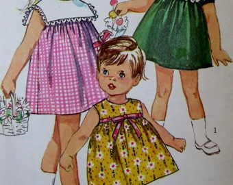 Vintage Simplicity 1960s  Toddlers One Piece  Dress  6565 Sewing Pattern, Size 2 **Epsteam