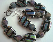 Mod Bracelet and Earrings Set in Retro Silver and Black  with Iridescent Pastels and Rainbow Mesh - Avant Garde, Pop, 1960s Retro, Modern