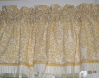 """Chris Stone Gold Beige Floral Toile Valance 17"""" X 55"""" Drapery Weight Can Alter Curtain Window Treatment"""