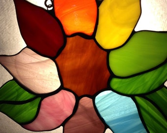 Stained Glass Sunflower Rainbow Sun Catcher Wild Flower Handmade
