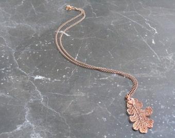 Rose Gold Plated Leaf Necklace