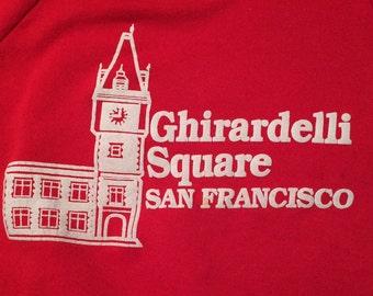 Vintage 1980s Red Ghirardelli Square San Francisco Sweatshirt Size M Medium California Souvenir Tourist FIsherman's Wharf Chocolate