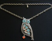 Vintage Gold Crown Inc Pewter Champlevé Enamelling Blue Turquoise Cream Ivory Red & Black Filigree Movable Owl Bird Pendant Silver Necklace