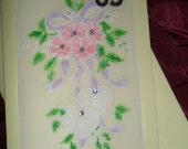 2 Hearts & Flowers, Handmade  Card - Parchment Craft. Wedding, Anniversary, Engagement