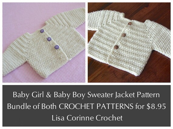 Crochet Stitches Name List : CROCHET PATTERNS bundle, Baby Boy Sweater Jacket, Baby Girl Sweater ...