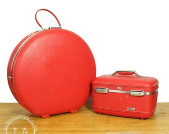 Vintage Pair of American Tourister Luggage Red  1960s