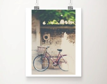 red bicycle photograph cambridge photograph maroon bike print bicycle print bicycle basket photo english decor travel photography