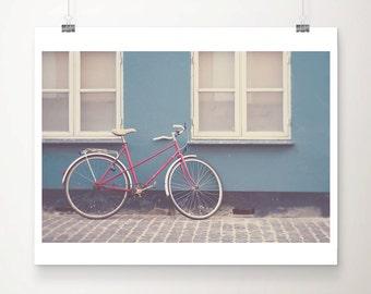 red bicycle photograph copenhagen photograph travel photography blue home decor denmark photograph red bike photograph red bicycle print