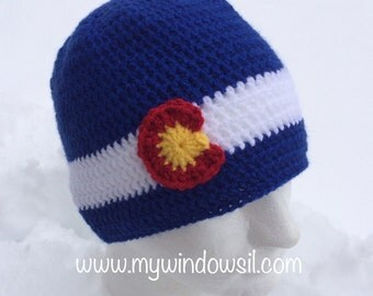 Crochet Classic Colorado Beanie- Baby, Child, Teen, Adult sizes, Colorado hat, Colorado flag hat, Colorado Hat, Ski, Skiing, Snowboarding