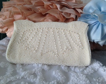 Vintage white beaded evening clutch