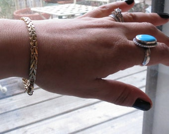 Clearance Sale - Flat Gold chain bracelet - chunky gold chain - gold link bracelet - thick gold bracelet