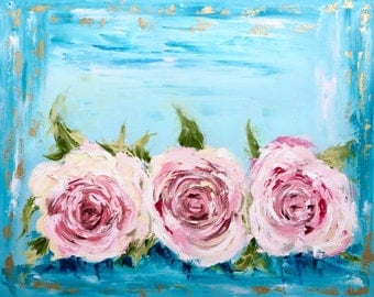 """Wrapped giclee print - vintage roses 24""""x30"""" roses, floral, pink"""