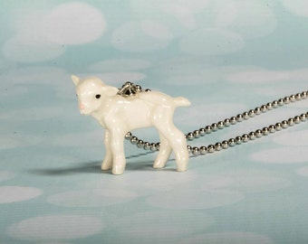 Lambikins Necklace - Lamb Necklace - Lamb Pendant - White Lamb Charm Necklace - Lamb Jewelry - Lamb Jewellery - Ba Ba Sheep Necklace - Lamb