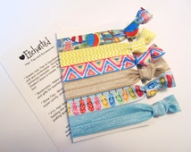 The BEACH PARTY 6-Pack Soft Elastic Hair Tie / Bracelet, No Crease, Ponytail Holder, Fold Over Elastic, Ribbon Hair Tie