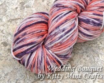 100% Superwash Merino Worsted Yarn - Wedding Bouquet - 3.8oz/ 108g,  201yd/ 183m - Hand Dyed - Knitting, Crochet - Wool Yarn