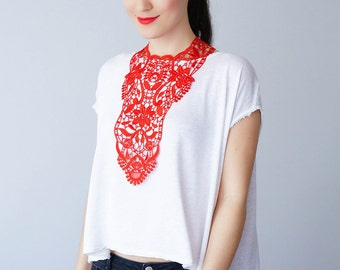 30% Inspiration Red Necklace Venise Lace Necklace Lace Jewelry Bib Necklace Statement Necklace Body Jewelry Gift/ ERCOLA