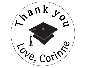 12 Graduation Thank You Stickers, Graduation Party, Congrats Stickers, Grad Cap, Graduation Labels, Graduation Theme, Grad Cap Labels