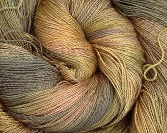 Silk Lace weight yarn, Hand Dyed Spun Silk Yarn, 2ply Knitting Yarn, Weaving Yarn, Crochet Yarn, No.15 Sludgy Green, Ref.933