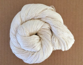 Cobweb Lace Silk Yarn, Mulberry Spun Silk Yarn, 30/2 Weight Yarn, Weaving Yarn, Crochet Yarn, Natural
