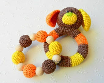 Crochet baby toy SET of 2 Teething baby toy.  Grasping and Teething Toys.  Dog. Stuffed toys. gift for baby!