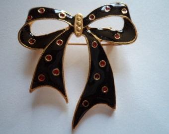 Vintage Goldtone Black/Red Bow Brooch/Pin