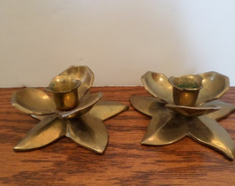 Solid Brass Flower Petal Candle Holders
