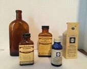 vintage antique medicine bottles from Montreal with bilingual labels