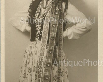 Pretty young woman in ethnic dress antique photo 1930's