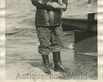 Italy ace pilot aviator Gughelmetti antique photo