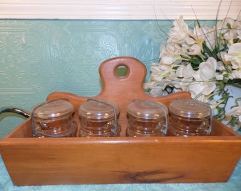 Vintage Ouroboros Wood Caddy Ball 4 Mason Jars  Canning Condiment Storage Hall Glass  Canada  Organizer