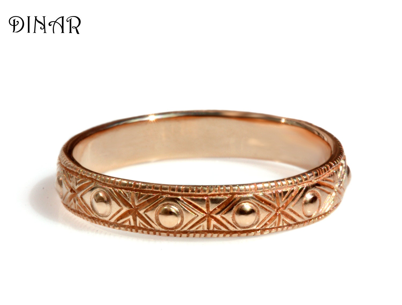 Art Deco patterned 14k solid rose gold wedding band engraved
