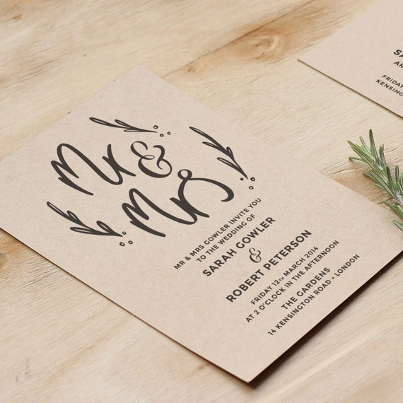 Mr And Mrs Wedding Invitation Rustic Hand Lettered Wedding
