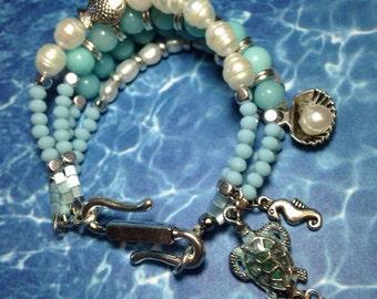 Ocean Blue, Pearl,Chunky Boho Style Bracelet
