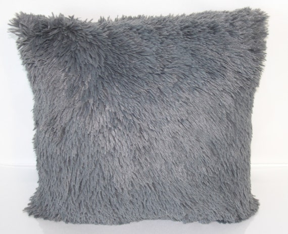 Shag Throw Pillow Grey Shag Throw Pillow Fluffy Shag