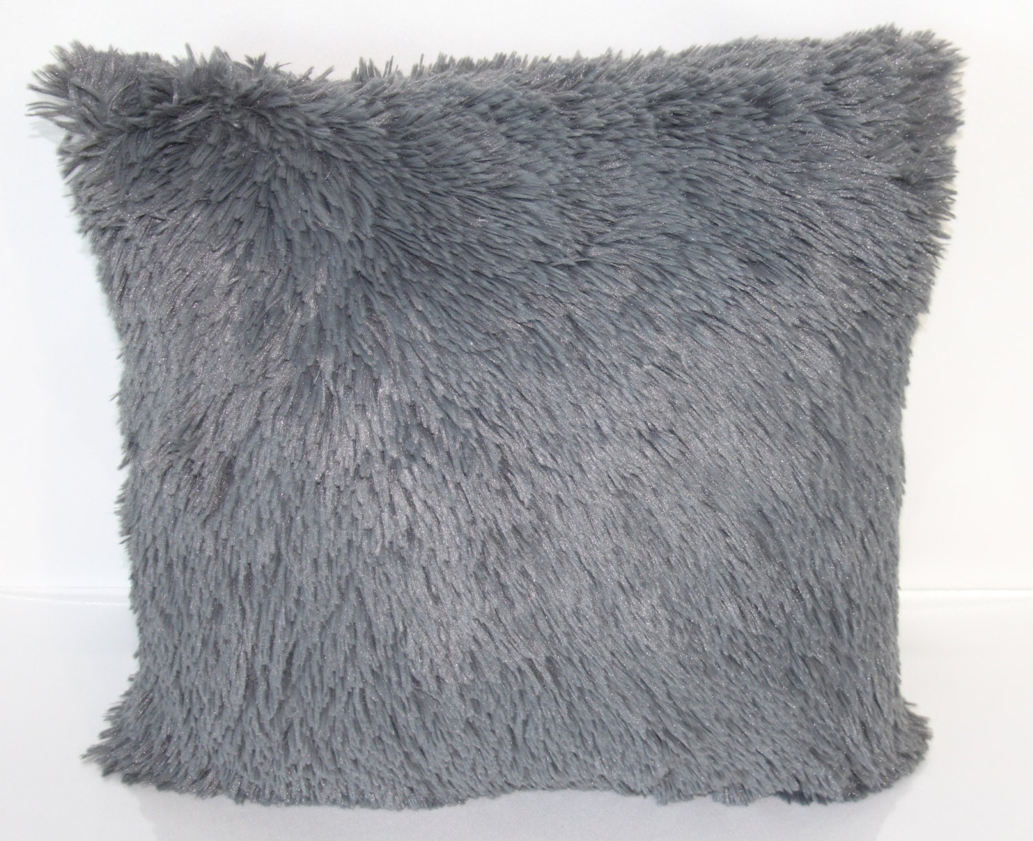 Shag Throw Pillow Grey Shag Throw Pillow Fluffy By