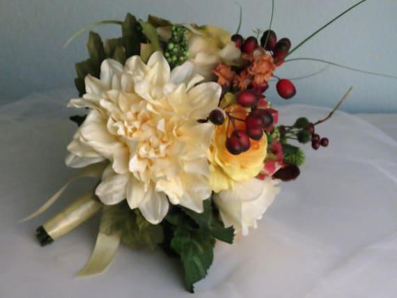 Fall Wedding Bouquets Fake : Autumn wedding bridal bouquet silk flowers accessory