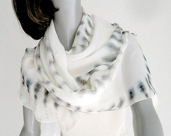 Hand Painted Silk Scarf, Ivory Gray Scarf,  Pepper Gray Brown, One of a Kind, Ivory Background with Earth Tones, Unique Handmade, Jossiani