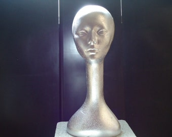 """TWO (2) Polly Products #620CCCH 19""""H Long Neck FEMALE Mannequins-Color-Coated tm CHROME"""