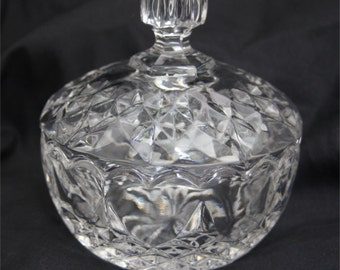 Vintage Lead Crystal Glass Candy Dish with Lid