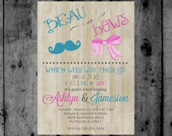 Beau or Bows Gender Reveal Baby Shower Invitation