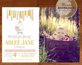 First Year Flew By Birthday Party Printable Photo Invitation - DIY - First Birthday Invite - Chalkboard Bird Ribbons